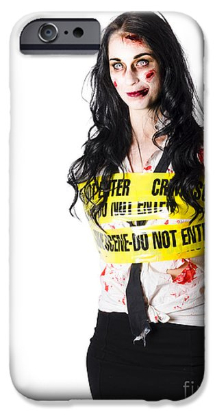 Arrest iPhone Cases - Zombie woman taped up iPhone Case by Ryan Jorgensen