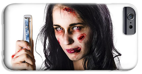 Ghastly iPhone Cases - Zombie woman with stapler iPhone Case by Ryan Jorgensen
