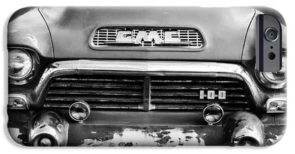 V8 iPhone Cases - 1957 GMC V8 Pickup Truck Grille Emblem iPhone Case by Jill Reger