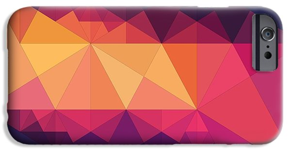 Abstract Digital Art iPhone Cases - Abstract Art Composition Of Triangles iPhone Case by Victor Gladkiy