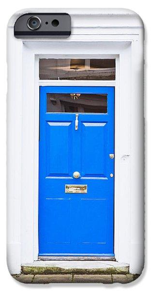 Asphalt iPhone Cases - Blue door iPhone Case by Tom Gowanlock