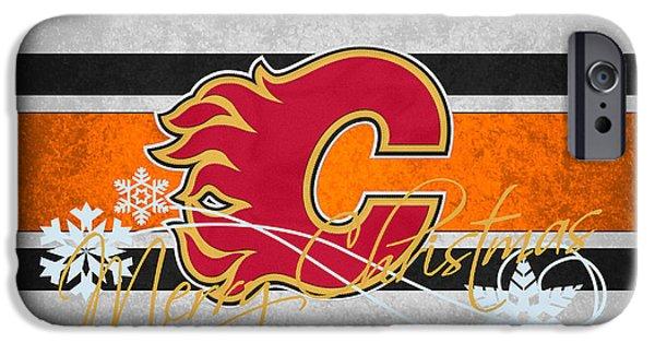 Flame iPhone Cases - Calgary Flames iPhone Case by Joe Hamilton
