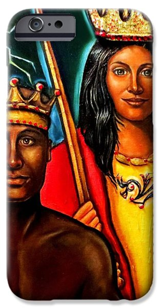 Spiritual Portrait Of Woman iPhone Cases - Chango and Saint Barbara iPhone Case by Carmen Cordova