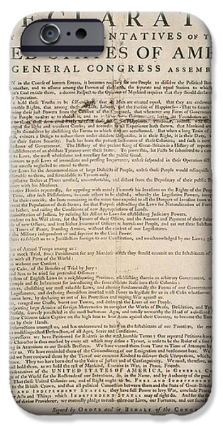 Fourth Of July iPhone Cases - Declaration Of Independence iPhone Case by Granger