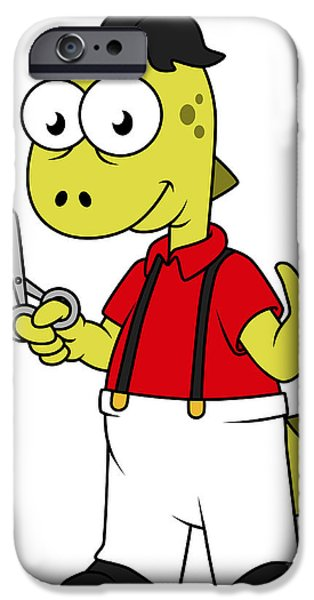 Suspenders iPhone Cases - Illustration Of A Tyrannosaurus Rex iPhone Case by Stocktrek Images