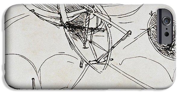Aeronautical iPhone Cases - Leonardo Da Vinci iPhone Case by Granger