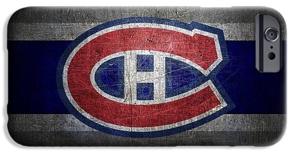Christmas Greeting iPhone Cases - Montreal Canadiens iPhone Case by Joe Hamilton