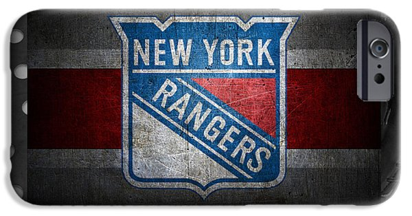 Santa iPhone Cases - New York Rangers iPhone Case by Joe Hamilton