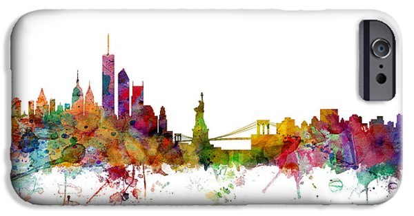 New York City Digital Art iPhone Cases - New York Skyline iPhone Case by Michael Tompsett