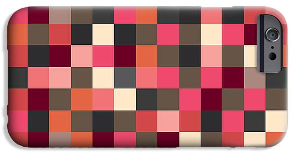 Geometric Artwork iPhone Cases - Pixel Art Square iPhone Case by Mike Taylor
