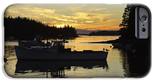 Down East iPhone Cases - Port Clyde Maine Fishing Boats At Sunset iPhone Case by Keith Webber Jr