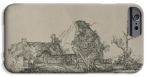 Rembrandt Drawings iPhone Cases - Rembrandt cottege print iPhone Case by Rembrandt