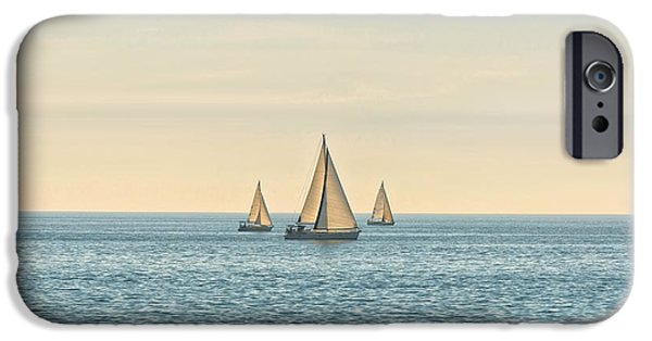 Abstract Seascape Pyrography iPhone Cases - Sail of a sailing boat iPhone Case by Oliver Sved