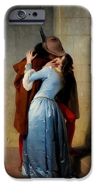 Fate Paintings iPhone Cases - The Kiss iPhone Case by Francesco Hayez