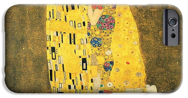 1907 Paintings iPhone Cases - The Kiss iPhone Case by Gustav Klimt