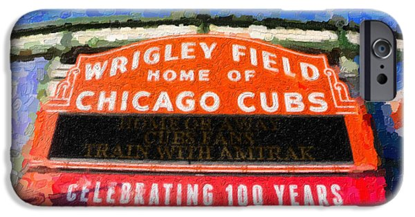Wrigley Field Digital iPhone Cases - 1060 W. Addison iPhone Case by Ryan Cosgrove