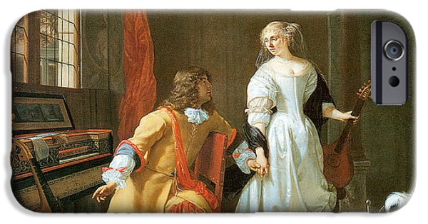 Important Paintings iPhone Cases - An Elegant Couple iPhone Case by Jan Verkolje