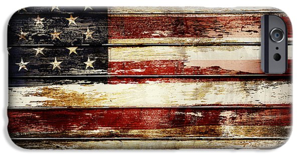 Stripes iPhone Cases - American flag iPhone Case by Les Cunliffe