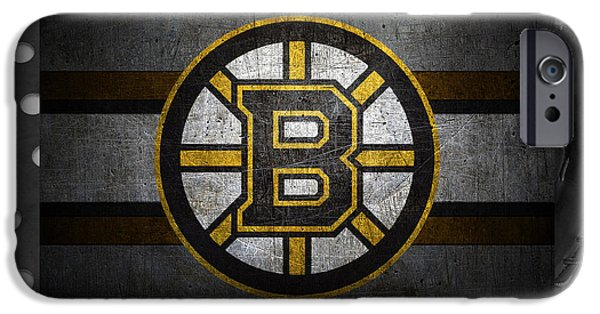 Recently Sold -  - Christmas Greeting iPhone Cases - Boston Bruins iPhone Case by Joe Hamilton