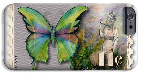 Yin iPhone Cases - 11 Cent Butterfly Stamp iPhone Case by Amy Kirkpatrick