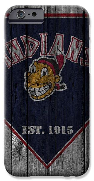 Baseball Glove iPhone Cases - Cleveland Indians iPhone Case by Joe Hamilton