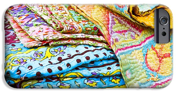 Bed Linens iPhone Cases - Colorful cloth iPhone Case by Tom Gowanlock