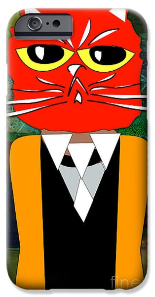Green iPhone Cases - Cool Cat iPhone Case by Marvin Blaine