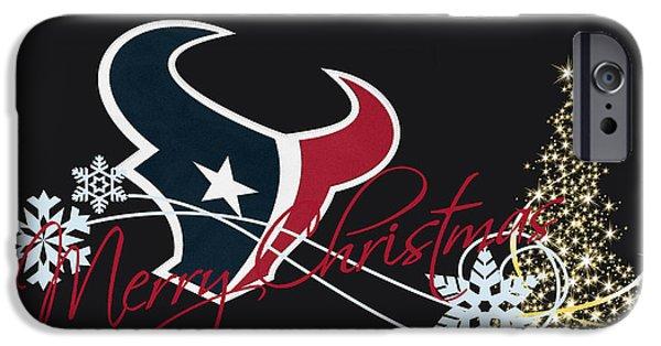 Christmas Greeting iPhone Cases - Houston Texans iPhone Case by Joe Hamilton