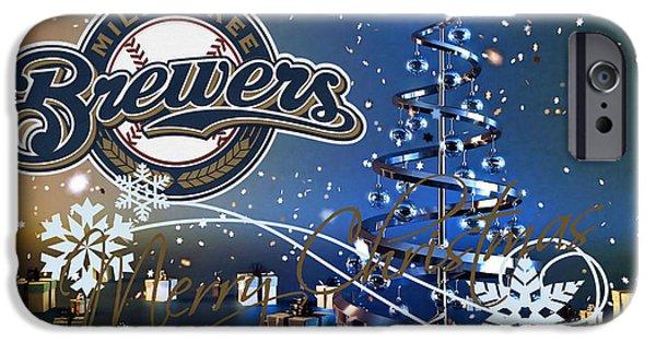 Baseball Glove iPhone Cases - Milwaukee Brewers iPhone Case by Joe Hamilton