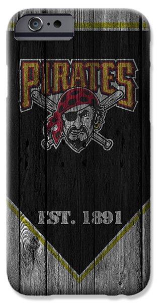 Baseball Glove iPhone Cases - Pittsburgh Pirates iPhone Case by Joe Hamilton
