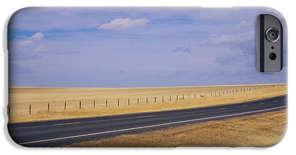 Absence iPhone Cases - Road Passing Through A Landscape iPhone Case by Panoramic Images