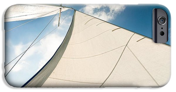 Sailboat Pyrography iPhone Cases - Sail of a sailing boat iPhone Case by Oliver Sved