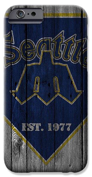 Baseball Glove iPhone Cases - Seattle Mariners iPhone Case by Joe Hamilton