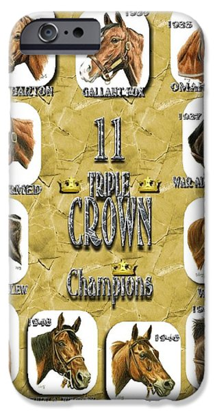 Affirm iPhone Cases - 11 Triple Crown Champions on gold iPhone Case by Pat DeLong