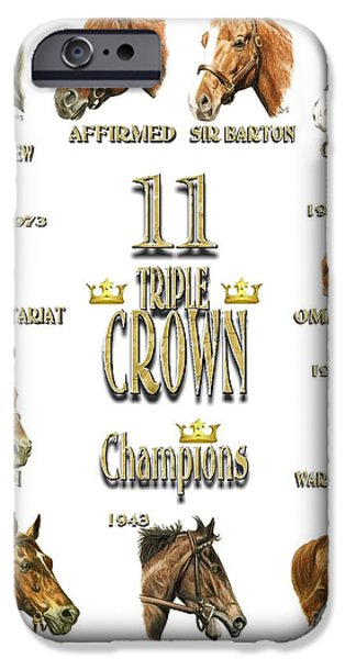 Affirm iPhone Cases - 11 Triple Crown Champions on white iPhone Case by Pat DeLong