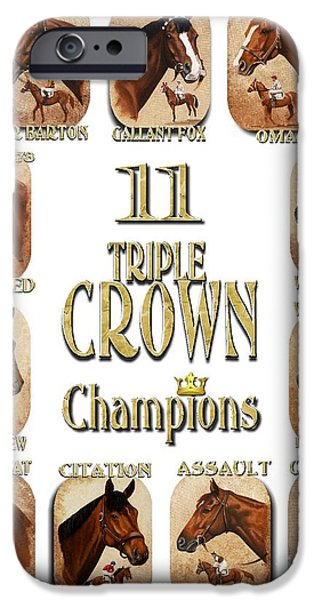 Affirm iPhone Cases - 11 Triple Crown Champions iPhone Case by Pat DeLong
