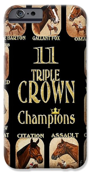 Affirm iPhone Cases - 11 Triple Crown Champs on black iPhone Case by Pat DeLong