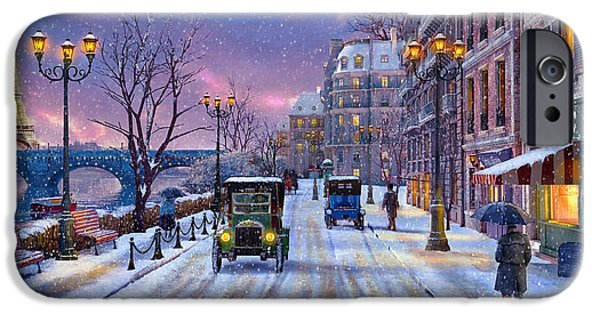 Snowy Digital iPhone Cases - Winter in Paris iPhone Case by Dominic Davison