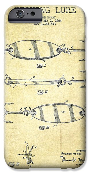 Tackle iPhone Cases - Vintage Fishing Lure Patent Drawing from 1964 iPhone Case by Aged Pixel