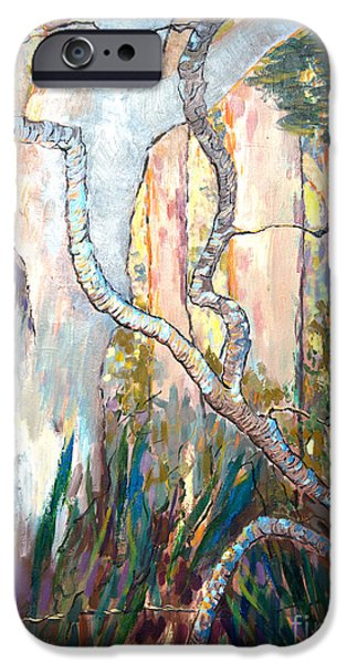 Nature Study Paintings iPhone Cases - Evening Light iPhone Case by Robin Garland-Sticovich