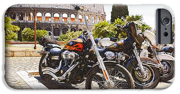 Close Up Mixed Media iPhone Cases - 110th Anniversary Harley Davidson under Colosseum iPhone Case by Stefano Senise