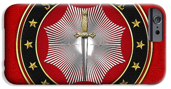 Elected iPhone Cases - 11th Degree - Elu of the Twelve Jewel on Red Leather iPhone Case by Serge Averbukh
