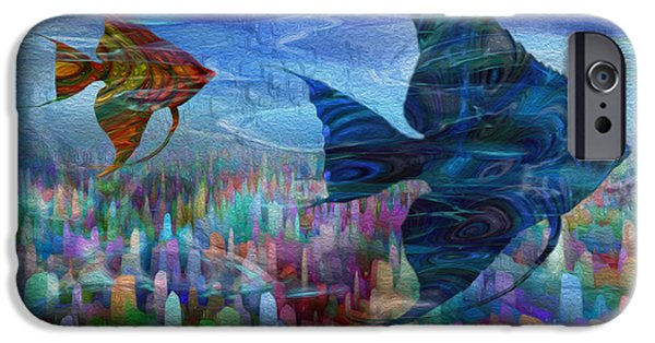 Angel Blues iPhone Cases - Beneath The Waves Series iPhone Case by Jack Zulli