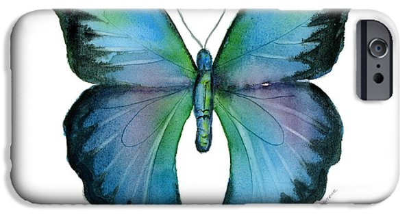 Butterfly iPhone Cases - 12 Blue Emperor Butterfly iPhone Case by Amy Kirkpatrick