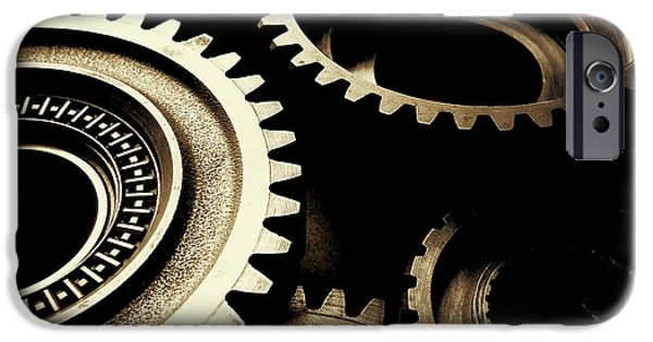 Indoor iPhone Cases - Cogs iPhone Case by Les Cunliffe