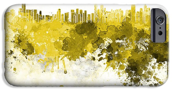 Hong Kong Paintings iPhone Cases - Hong Kong skyline in watercolor on white background iPhone Case by Pablo Romero