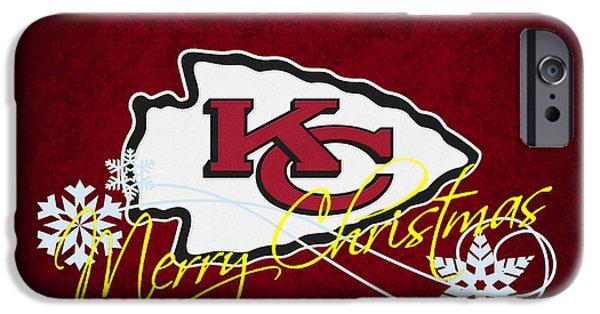 Christmas Greeting iPhone Cases - Kansas City Chiefs iPhone Case by Joe Hamilton