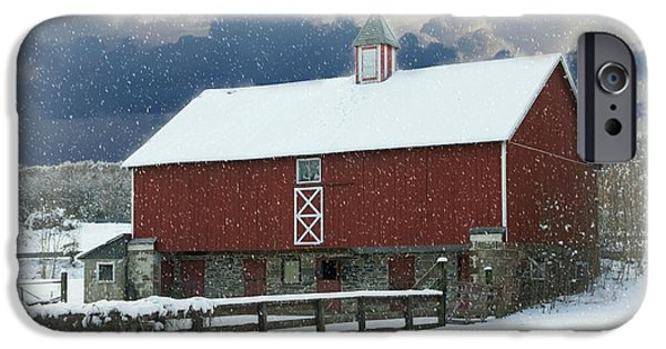 Red Barn In Winter iPhone Cases - Merry Christmas iPhone Case by Lisa Hurylovich