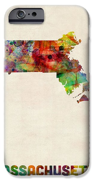 Us Map iPhone Cases - Massachusetts Watercolor Map iPhone Case by Michael Tompsett