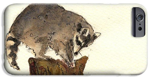 Raccoon iPhone Cases - Raccoon iPhone Case by Juan  Bosco